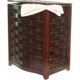 Mahogany Finished Bowed Front Veneer Laundry Wood Hamper with