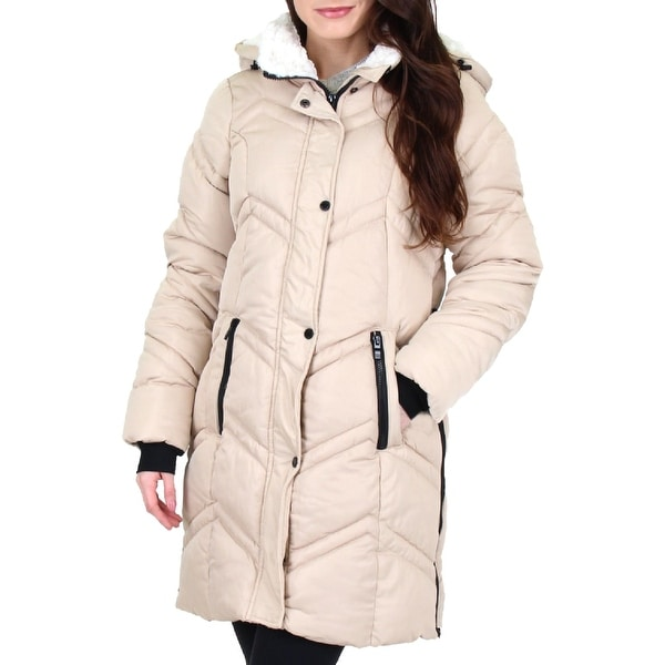 Steve Madden Women's Quilted Chevron Warm Winter Hooded Puffer Coat. Opens flyout.
