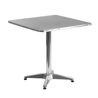 """Offex 27.5"""" Square Aluminum Indoor-Outdoor Table With Base"""
