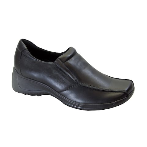 24 HOUR COMFORT Malia Women's Wide Width Casual Leather Slip-On Shoes