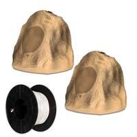 "Acoustic Audio B8RS Sandstone 8"" Rock Speaker Pair and Wire Outdoor Weatherproof"