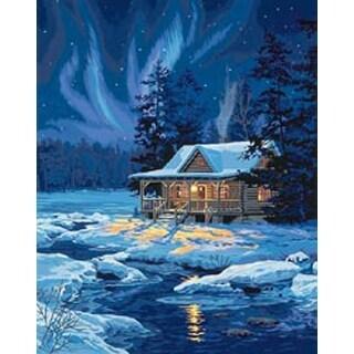"Moonlit Cabin - Paint Works Paint By Number Kit 16""X20"""