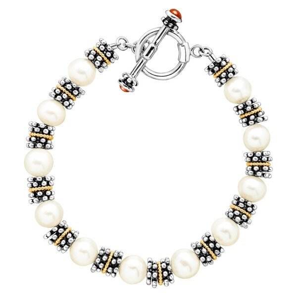 8 mm Freshwater Pearl Bead Toggle Bracelet in Sterling Silver & 14K Gold