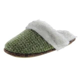 Cuddl Duds Womens Knit Faux Fur Scuff Slippers - S