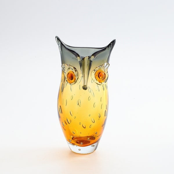 "10"" Gray and Amber Handblown Tabletop Glass Owl Vase - N/A"