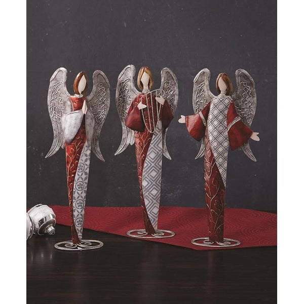 """Pack of 6 Pop of Red Capiz Shell Angel Christmas Table Top Figurine Decorations 15"""""""