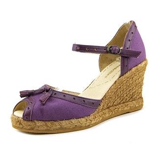 Espadrilles catar Women Open Toe Canvas Purple Wedge Sandal
