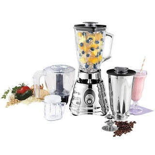 Oster Kitchen Center Beehive Blender - Includes 3-cup BPA-free food processor Jar - Silver
