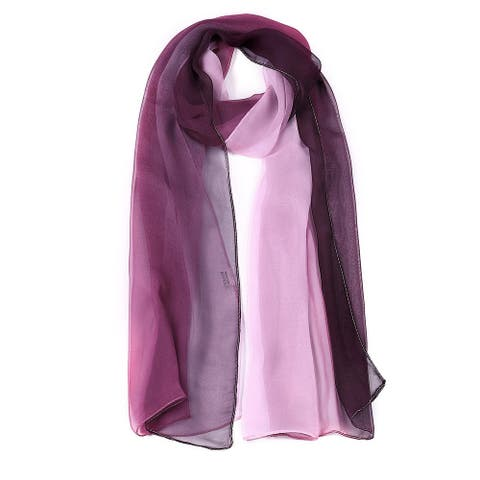 "Long Chiffon Lightweight Gradient Color Scarf For Women Purple - 63""x19.6"""