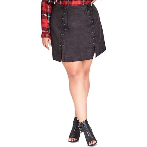 City Chic Womens Plus Mini Skirt Faux Suede Lace-Up - 16