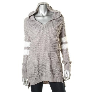 Ultra Flirt Womens Juniors Striped Knit Hooded Sweater