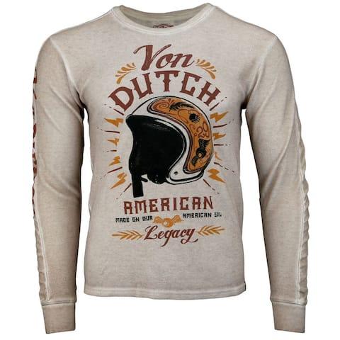 Von Dutch Thermal Tee Mens Top Casual T-Shirt Long Sleeve - Grey