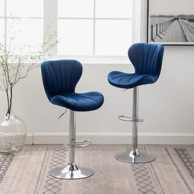 Ellston Upholstered Adjustable Swivel Barstools, Set of 2