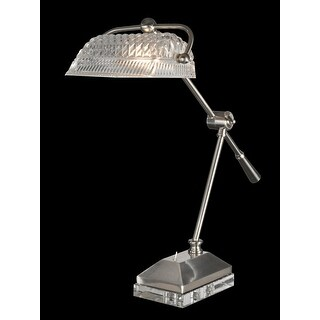 "24"" Hemingway Crystal Accent Desk Lamp with Faceted Banker's Style Shade"