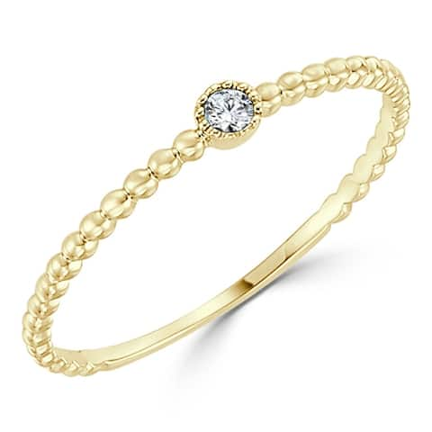 10k gold Diamond Accent Ultra-thin Beaded Stackable Ring by Auriya