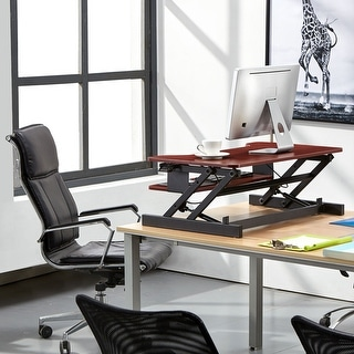 """Link to Boonliving Adjustable Desk Sit & Stand Computer Riser for Home and Office - Ergonomic Workstation with Keyboard Tray, 31.5"""" Wide Similar Items in Computer Desks"""