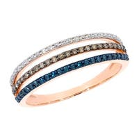 Prism Jewel 0.52Ct Multi Color Diamond 3-Row Anniversary Stackble Ring