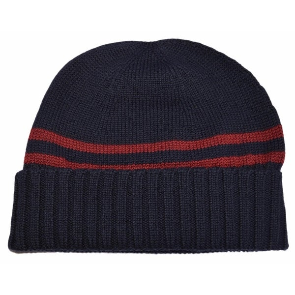 7215fa7f90f Shop Gucci Men s 294731 Blue 100% Wool Red Stripe Beanie Ski Hat XL - Free  Shipping Today - Overstock - 13844163