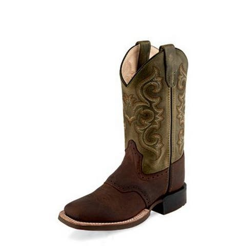 Old West Cowboy Boots Boys 3/4 Natural Welt Leather Brown