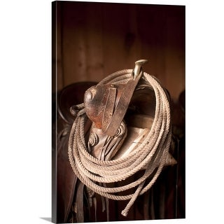 Premium Thick-Wrap Canvas entitled Close-up of saddle with rope, Colorado (4 options available)