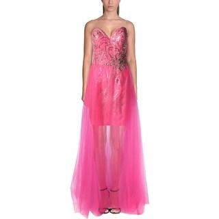Mac Duggal Womens Sequined Prom Formal Dress