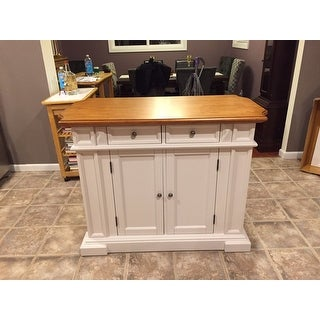 White Distressed Oak Kitchen Island and Bar Stools by Home Styles