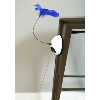 Interactive 2-in-1 Spring Feather and Laser Light Chaser Cat Toy