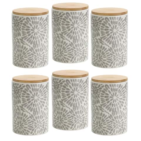 Pfaltzgraff Gray Floral 6.5IN Padprint Canister with Bamboo Lid