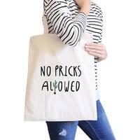 No Pricks Allowed Natural Canvas Bags Back To School Bag Tote Bag