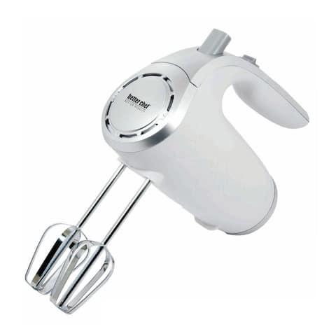 5-Speed 150-Watt Hand Mixer White w/ Silver Accents