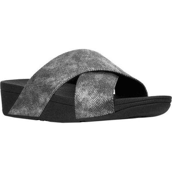 fb62f9ac6 FitFlop Women  x27 s Lulu Crisscross Slide Black Shimmer Snake Print Faux  Leather