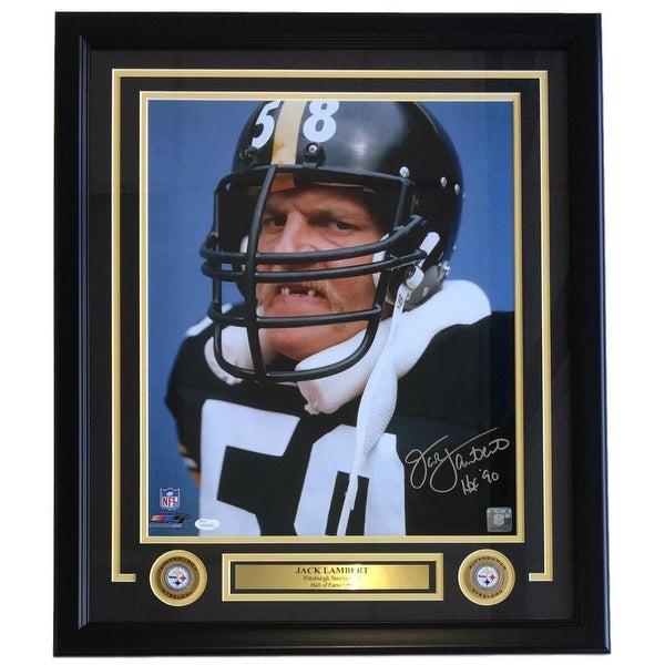 5d05e7f32 Shop Jack Lambert Steelers Signed Framed 16x20 Tooth Photo HOF 90 ...