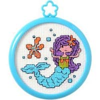 "3"" Round 14 Count - My 1St Stitch Mermaid Mini Counted Cross Stitch Kit"