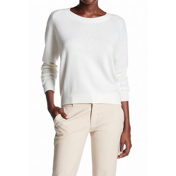 Vince. White Women's Size XS Ribbed Trim Crewneck Cashmere Sweater