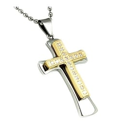Gold Plated Stainless Steel Men's Large Cross CZ Pendant with 24 Inch Chain