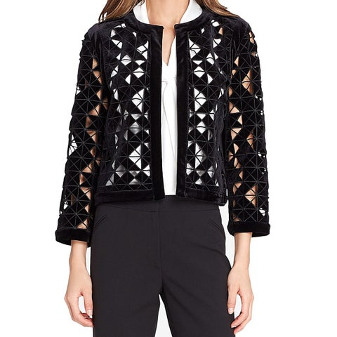 Tahari by ASL Black Womens 14 Laser Cut Velvet Open Front Jacket