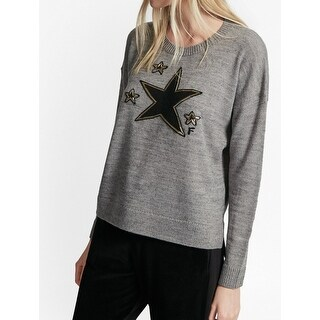 French Connection NEW Gray Women's Size Large L Star Crewneck Sweater