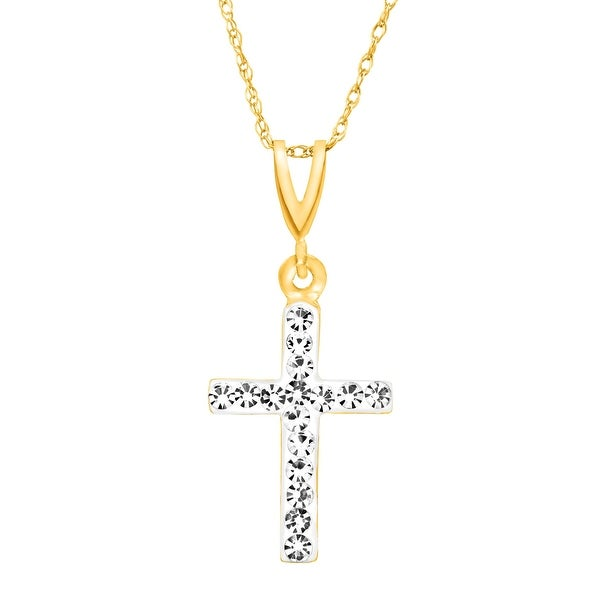 Crystaluxe Cross Pendant with Swarovski Crystals in 14K Gold
