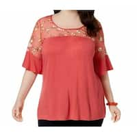 NY Collection Pink Women's Size 1X Plus Illusion Embroidered Top
