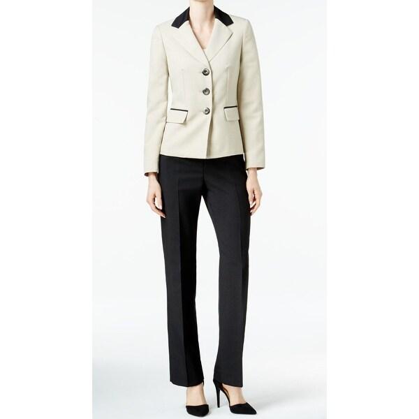 fd1e96c56 Shop Le Suit NEW Beige Black Womens 10 Three Button Contrast Pant ...