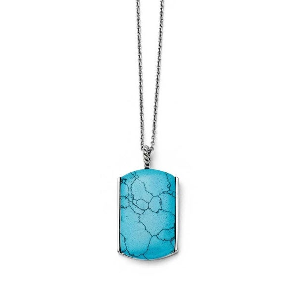 Chisel Stainless Steel Imitation Turquoise Necklace (1 mm) - 18 in