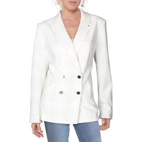 Tommy Hilfiger Womens Double-Breasted Blazer Plaid Business - Ivory