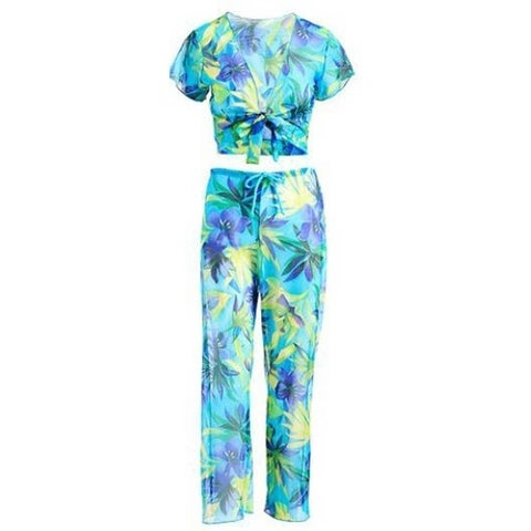 Adult Turquoise Floral Pants Shrug Cover-up 2 Pc Set Womens