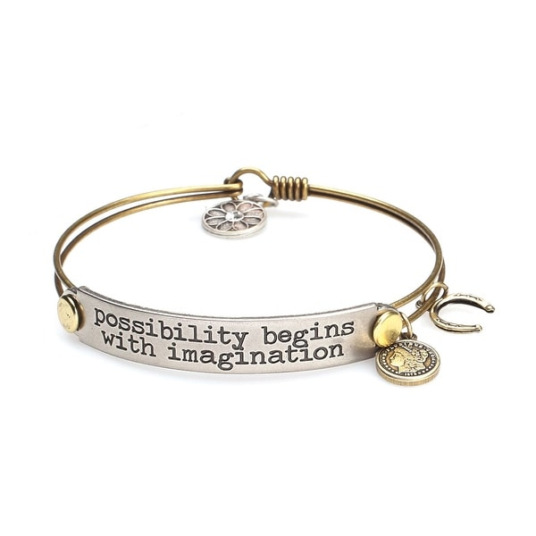 Women's Inspirational Message Brass Bracelet with Charms - Possibility Begins