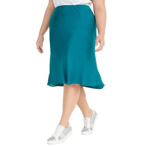 INC International Concepts Women's Plus Bias-Cut Midi Skirt Blue Size Extra Large
