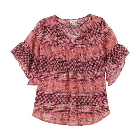 Style&Co. Womens Printed Pleated Knit Blouse