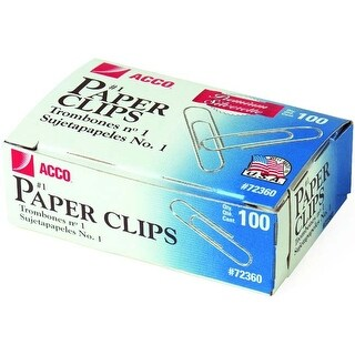 "Smooth; 1.28"" - Acco Premium #1 Paper Clips 100/Pkg (10/Pack)"