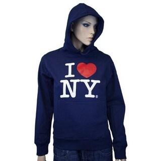 I Love NY New York Hoodie Screen Print Heart Sweatshirt Navy Xl