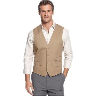 Tasso Elba Big and Tall Cotton Twill Button Front Vest Khaki 2XLT
