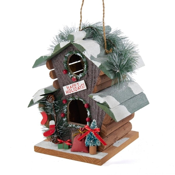 "9"" Brown, Green and Red Woodland ""Happy Holiday's"" Birdhouse Christmas Ornament - brown"